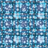 Repeating blue checkered floral pattern — Stock Vector