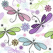 Spring seamless floral pattern with dragonflies — Stock Vector