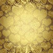 Gold seamless valentine pattern — Stock Vector