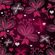 Stock Vector: Seamless valentine floral pattern
