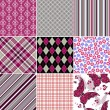 Set seamless colorful vintage pattern — ストックベクタ