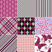 Set seamless colorful vintage pattern — Stock Vector