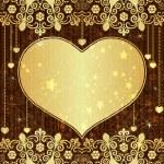 Vintage gold valentine frame — Stock Vector