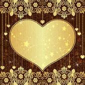 Vintage altın Sevgililer günü çerçevesi — Stok Vektör