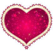 Rött och guld vintage valentine ram — Stockvektor