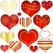 Collection red and gold isolated hearts — Stock Vector #38135125