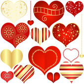 Collection red and gold isolated hearts — Vector de stock