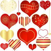 коллекция красных и золотых изолированных сердец — Cтоковый вектор
