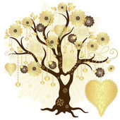 Gold valentine decorative tree — Stock Vector