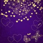 Violet grunge valentine frame — Stock Vector