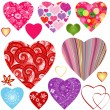 Collection colorful valentine hearts — Stock Vector