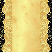Gold frame with old paper and stars — Stock Vector