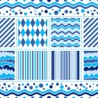 Stock Vector: Seamless white-blue wave pattern