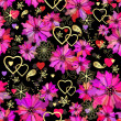 Valentine seamless dark floral pattern — Stock Vector
