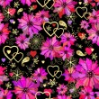 Valentine seamless dark floral pattern — Stock Vector #41030513