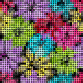 Seamless floral mosaic pattern — Stock Vector