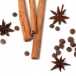 Stock Photo: Black peppercorns, anise stars and cinnamon sticks
