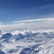 Top view of snow capped mountains — Stock Photo