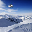 Heliski in snowy mountains — Stock Photo