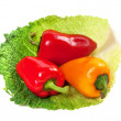 Red and yellow sweet peppers on leaf of savoy cabbage — Stock Photo