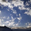 Blue sky with clouds and mountains in evening — Stock Photo #22699527