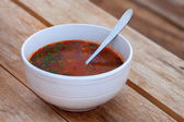Kharcho. Spicy Georgian meat and vegetable soup. — Stock Photo