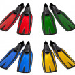 Set of multicolored swim fins — Stock Photo