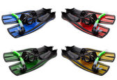 Set of multicolored mask, snorkel and flippers with water drops — Stock Photo