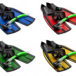 Set of multicolored mask, snorkel and flippers — Stock Photo