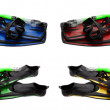 Foto Stock: Set of multicolored mask, snorkel and flippers with water drops