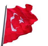 Waving in wind flag of Turkey with flagpole — Stock Photo
