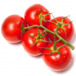 Stock Photo: Bunch of fresh tomatoes with water drops. Top view.
