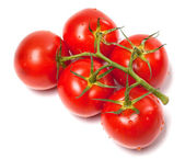 Bunch of fresh tomatoes with water drops. Top view. — Stock Photo