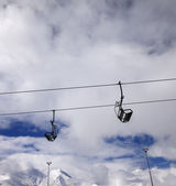 Chair-lift wide-angle view — Stock Photo