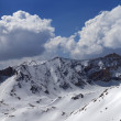 Panorama of snowy mountains in nice day — Stock Photo