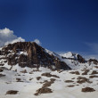 Panorama of snowy winter mountains — Stock Photo