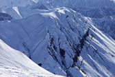 View from ski slope on snowy rocks — Stock Photo