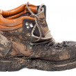 Old dirty trekking boot. Side view. — Stock Photo