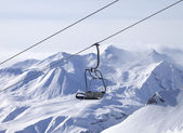 Chair lifts and off-piste slope in fog — Foto Stock