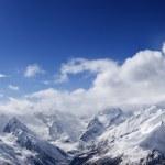 Panoramic view on ski slope in nice sun day — Stock Photo