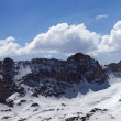 Panorama of snowy mountains in nice sun day — Stock Photo
