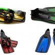 Set of multicolored swim fins, mask and snorkel for diving — Stock Photo #38324767