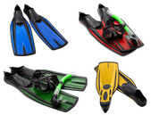 Set of multicolored flippers, mask, snorkel for diving with wate — Stock Photo