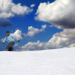 Stock Photo: Snowboarder on off-piste slope