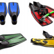 Set of multicolored swim fins, mask, snorkel for diving with wat — Stock Photo #40165145