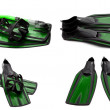 Set of green swim fins, mask and snorkel for diving — Stock Photo #40165177