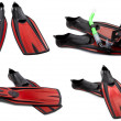 Set of red swim fins, mask and snorkel for diving — Stock Photo #40165305