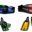 Set of multicolored swim fins, mask and snorkel for diving — Stock Photo #40165427