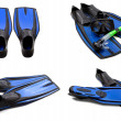 Set of blue swim fins, mask, snorkel for diving with water drops — Stock Photo
