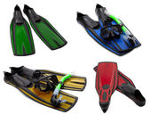 Set of multicolored flippers, masks, snorkel for diving with wat — Stock Photo